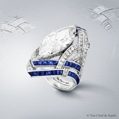 Camaieu de Bleus ring, Pierres de Caractère Variations collection by Van Cleef & Arpels. The delicate gradation of blues embellishes a 11.22-carat D IF type 2A diamond remarkable for its weight and for its marquise-cut. The central stone is highlighted by a virtuoso structure in which ribbons of diamonds and sapphires appear intertwined.