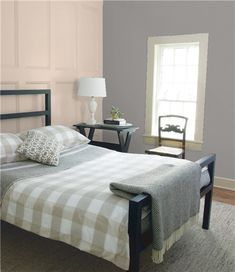 Look at the paint color combination I created with Benjamin Moore. Via Wall: Swiss Coffee Paneling: Solitude Trim: Swiss Coffee Share your saved colors, start a new search or go to your local Benjamin Moore retailer for samples. Grey Bedroom Paint, Grey Paint, Bedroom Colors, Master Bedroom, Bedroom Ideas, Master Suite, Attic Bedrooms, Neutral Paint, Master Bathrooms