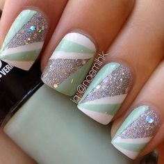 Fun and pretty go together in this glitter and strip nail art. DIY this manicure with the help of these products used.