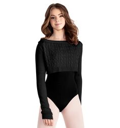 Adult Cable Knit Crop Sweater - Style #M7006L at Discount Dance Supply