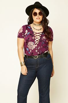 Forever 21+ - A knit bodysuit featuring a self-tie lace-up front, floral print, short sleeves, and snap-button closure.