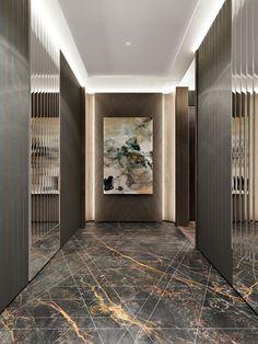 Awesome Modern Home Corridor Design, das Sie inspirieren – Corridor 2020 House Paint Interior, Lobby Interior, Lobby Design, Modern Interior Design, Luxury Interior, Flur Design, Hotel Corridor, Architecture Design, Home Modern