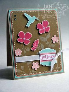 "Stampin' Up! Wildflower Meadow; Stampin' Supplies; Stamps: Wildflower Meadow, Label Love; Paper: Crumb Cake, Coastal Cabana, Whisper White, Crisp Cantaloupe; Ink: Coastal Cabana, Crisp Cantaloupe, Strawberry Splash, Whisper White; Accessories: Artisan Label punch, 3/8"" corner rounding punch, Whisper White taffeta ribbon, dimensionals, Signo White gel pen"