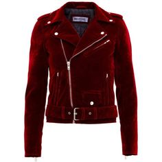 Holly Velvet Jacket Red ($21,470) ❤ liked on Polyvore featuring outerwear, jackets, motorcycle jacket, velvet jackets, red velvet jacket, red motorcycle jacket and red jacket