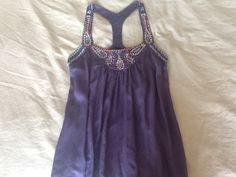 New without tags Hive and Honey beaded racerback blouse top navy purple S M