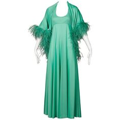 Preowned 1970s Joan Leslie By Kasper Vintage Mint Green Maxi Dress +... (€260) ❤ liked on Polyvore featuring dresses, green, maxi dress, wrap maxi dress, two-piece dresses, wrap dress, green wrap dress and green maxi dress