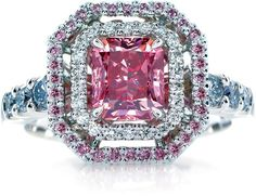 "Here's a breath taking sparkler full of intense pink color. Featuring 1.43 carats of extremely rare Australian Argyle Fancy Vivid radiant cut pink diamond, this Calleija Heiress ring has royalty written all over it. The ring is set in 18K white gold and accented by white and pink Argyle diamonds on the halos and shank. Just to get an idea of how rare pink diamonds are, The Jewellery Editor writes ""it takes seven pickup trucks of diamonds to produce one ashtray full of pinks.""…"