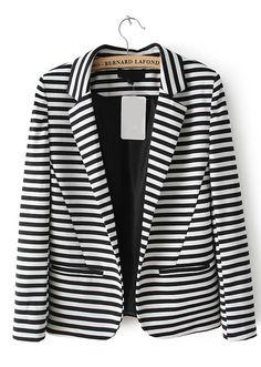 Black White Striped Notch Lapel Pockets Blazer