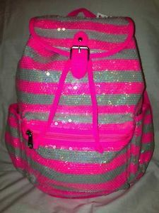 NWT! Girls Justice backpack Sparkly Sequin Pink black polka dots ...