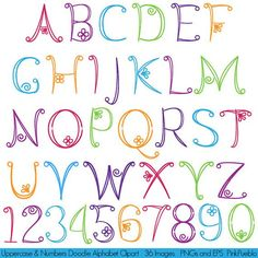 Doodle alphabet hand-drawn font uppercase and numbers - commercial and personal use - Our doodle alphabet contains 36 PNG files with transparent backgrounds and 1 Adobe Illustrator vect -