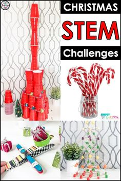Christmas STEM activities for kids! These easy STEM challenges are  perfect for elementary kids in kindergarten, first grade, or second  grade. This resource includes SIX Christmas STEM ideas and projects. It  also includes planning sheets, printables, and more! Click the link to  learn more!