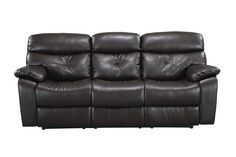 The Makenzie Leather Sofa will have you reclining in style. The black bonded leather upholstery paired with the tufted seating takes this sofa to the next level. #SofaEnvy