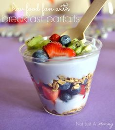 Breakfast yogurt parfaits! See more party ideas at CatchMyParty.com!