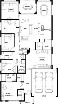 House Design Plans One Floor 4 Bedrooms. Unique House Design Plans One Floor 4 Bedrooms. Single Storey 4 Bedroom House Floorplan with Additional One Level House Plans, Single Storey House Plans, One Storey House, Open Floor House Plans, Farmhouse Floor Plans, Home Design Floor Plans, House Layout Plans, House Plans One Story, Story House