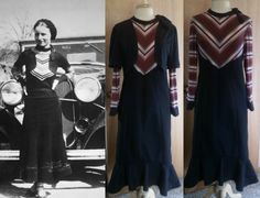 Inspired by Bonnie.....original Bonnie Parker (right), my finished interpretation on the left.  Knit and wool dress with side buttons and knit bolero shrug.