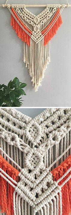 Timestamps DIY night light DIY colorful garland Cool epoxy resin projects Creative and easy crafts Plastic straw reusing ------. Macrame Design, Macrame Art, Macrame Projects, Macrame Knots, Crochet Projects, Yarn Wall Hanging, Wall Hangings, Deco Boheme, Macrame Curtain