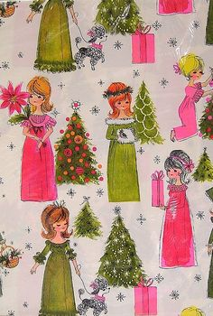 Vintage Pink and Lime Green Hallmark Christmas Gift Wrapping Paper Art Christmas Gifts, Hallmark Christmas, Christmas Past, Retro Christmas, Christmas Images, Vintage Holiday, Vintage Gifts, Vintage Cards, Vintage Paper