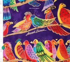 1 Fat Qtr JUNGLE SONGS Laurel Burch TROPICAL PARROTS BIRDS Purple Clothworks