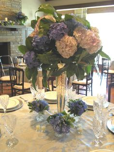 Ft. Smith Wedding, private home. Centerpiece: Blue hydrangea and magnolia (close up #3)