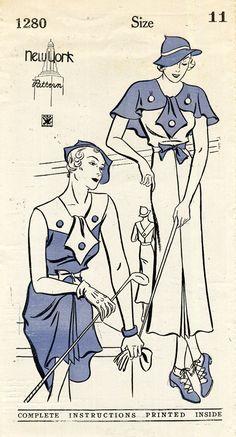 1930s fashion - beautiful    New York/Ladies Home Journal 1280.  Circa 1932-1935.