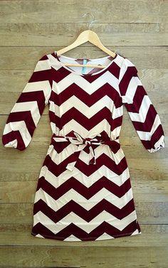 Beautiful maroon chevron print sleeve dress fashion style