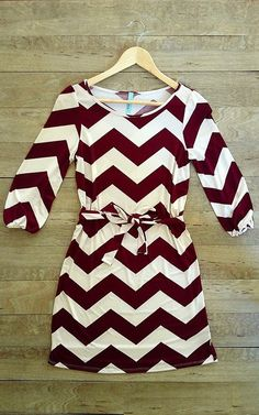 Beautiful maroon chevron print sleeve dress fashion style