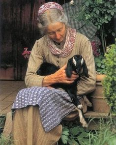 """Did you know Tasha Tudor raised Nubian goats? Love this! Obviously, goats didn't """"injure the eye"""" in her opinion!"""