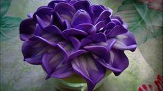 Фиолетовый цветочек. Украшаем стеклянную баночку