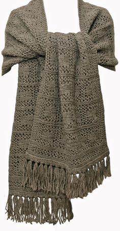Hand Knit Shawl Wrap  Grey Brown by StudioatRedTopRanch on Etsy