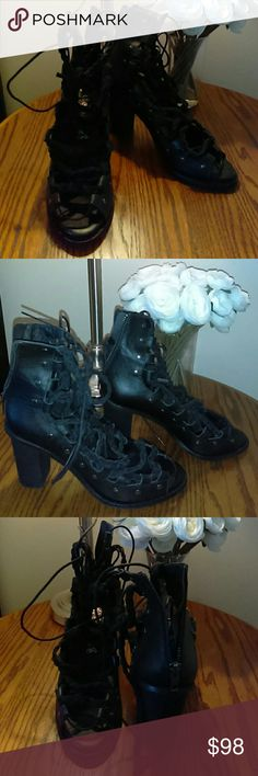 Free People Black Pember Lace Up Heels Like New! Black Double-Laced Sandal Booties. Only worn twice. Free People Shoes Sandals
