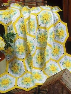 🌾 💮 💮 🌾  Afegão em Crochê com Flores Narciso Hexágono -  /  🌾 💮 💮🌾 Crocheting at Afghan with Flowers Narcissus Hexagon  -