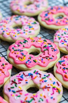 Donut Sugar Cookies topped with icing and sprinkles are the best recipe for soft cut out sugar cookies made from scratch! This is the best party dessert for kids! # Desserts for kids Donut Sugar Cookies Easy Sugar Cookies, Cookies For Kids, Cut Out Cookies, Sugar Cookies Recipe, Summer Cookies, Baby Cookies, Heart Cookies, Valentine Cookies, Easter Cookies