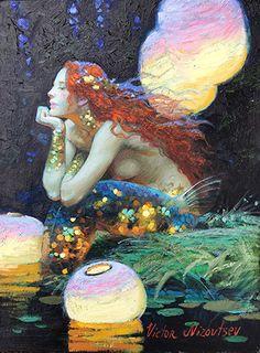 Victor Nizovtsev Paintings and Stories behind the paintings 2 Paintings I Love, Beautiful Paintings, Mermaid Artwork, Mermaid Paintings, Victor Nizovtsev, Mermaid Illustration, Fairytale Art, Soul Art, Fish Art