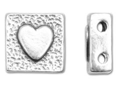 JBB Sterling Silver Two-Hole Symbol Bead - Heart