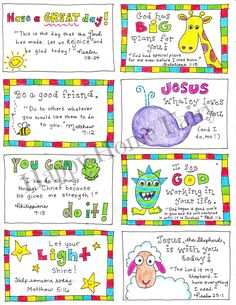 FREE Printable Inspirational Lunch Box Notes - Happy Home Fairy - As I searched for fun FREE Printable lunch box notes to share with you, I realized that I could not - Happy Home Fairy, Little Lunch, Bible For Kids, Kids Bible Verses, Scriptures, Memory Verses For Kids, Scripture Crafts, Printable Scripture, Children's Bible