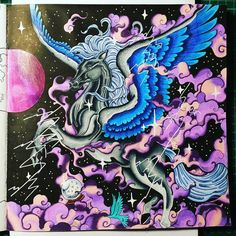 Finishing my picture for an color along from an Facebook Group.    #kerbyrosanes #mythomorphia #donnerpferd #pegasus #prismacolor #posca #glossyaccents #spectrumnoir #spectrumnoirsparkle #color #coloring #colorful #enchantedcoloring #coloringforadults #coloringbook #beautifulcolors #coloringmasterpiece