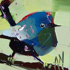 White Winged Fairy Wren original bird oil by Angela Moulton prattcreekart on Etsy