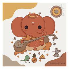 Ganpati Drawing, Ganesha Drawing, Lord Ganesha Paintings, Lord Shiva Painting, Ganesha Art, Krishna Art, Shri Ganesh, Krishna Painting, Easy Doodles Drawings