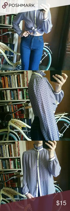 🌻bundled vintage Tokyo ruffled neck blouse Purple and off white vintage blouse,  adorable worn buttoned up or tied at the waist,  fits small to medium best, tag size is 6, two not very noticeable flaws shown picture 4 on wrist 💙Ask for an extra bundle discount the more items the greater discount✌💜 📫✈Fast Shipping 🌻 legit offers only💛  💔 No Paypal 💔 No Trades 🌼festival season 👑9Ts club kid #90s chick, #summer2016, #stonecoldfox, #gypsy, #poshfind, #momjeans, LF Vintage Tops Blouses