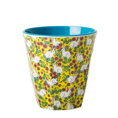 Rice Melamine Cup Two Tone with Rabbit Print and Turquoise Inner Melamine, Decoration Design, Cool Kitchens, Bunt, Ladybug, Tea Time, Coffee Cups, Planter Pots, Rabbit