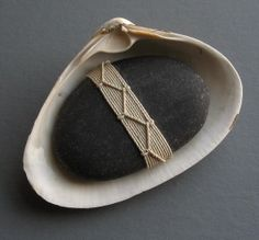 Linen wrapped beach stone desk ornament paperweight