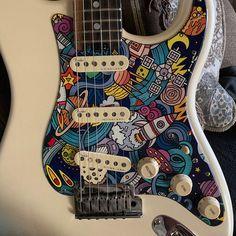 Guitar Painting, Guitar Art, Music Guitar, Guitar Chords, Cool Guitar, Playing Guitar, Ukulele, Jimi Hendrix, Custom Electric Guitars