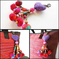 Purple Heart Hanging Little Pom Poms Keychain Zip Pull Bag Accessory Decoration by Handmade. (AC1007-PU)