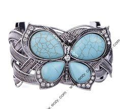 $2.66 Vintage Tibet Silver Tone Hollow Turquoise Butterfly Bead Bangle Bracelet # AlloyBracelet #eozy