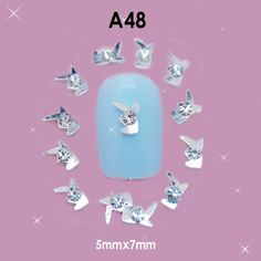 BTArtbox 3D Nail Art Lovely Silver Alloy White Rhinestones Reusable DIY Decorations 10 pieces *** Details can be found by clicking on the image.