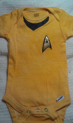 Handpainted and dyed onesie, Star Trek TOS captain's uniform