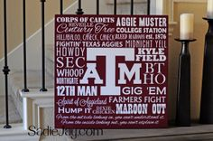 24in. by 24in. Texas A&M sign by SadieJayDesigns on Etsy, $65.00, BTHO, Gig 'Em, Aggies, 12th man, Maroon, Howdy