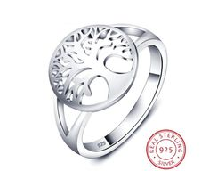 Sterling Silver Jewelry 925 Tree of Life Classic Accessories 925 Sterling Silver Rings For Women New Mothers Day Gifts (JewelOra - Sterling Silver Wedding Rings, Sterling Silver Jewelry, Silver Rings, 925 Silver, Tree Of Life Ring, Mother Rings, Delicate Rings, Simple Rings, Engraved Rings