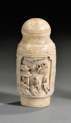 Ivory Snuff Bottle, China, early 20th century, the cylindrical body with two cartouches enclosing relief carvings of Immortals, with stopper, lg. 2 5/8 in