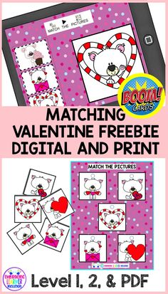 Download this Valentine Matching Freebie. Includes two Decks of BOOM Learning cards and a Print PDF File Folder Matching Game. Level 1 cards- ONLY the correct answer moves. Level 2 cards- Idendentical to level 1 except that ALL answer cards move. Students can practice correct answers. Great for PreK, Kinder, and special education students. Students with Autism love these digital task cards and FFG's.